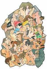 1001 faces (freekhand) Tags: people woman men face ink watercolor doodles buildup garabatos