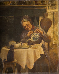 Old woman pouring tea, unknown artist, 19th century, OP582 (Black Country Museums) Tags: old woman art history cup museum cat painting tea drink 19thcentury victorian drinking pot teapot oldwoman museums teatime saucer oilpainting wolverhampton blackcountry wolverhamptonartgallery museumobject
