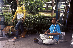 "Blindness in Bangkok, city of angels (Sailing ""Footprints: Real to Reel"" (Ronn ashore)) Tags: people color slide nikonf3 blindness fuji100 nikkor28mmf28ais bangkokcityofangels 2009oct068f3fuji10028nnf28bkkmultipleexposures"