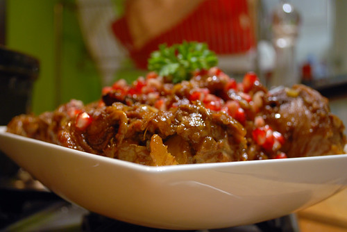 Slow-cooeked lamb, dates and pomegranate
