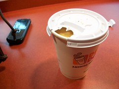 Breakfast of champions. (Emily.) Tags: chicago coffee dunkindonuts