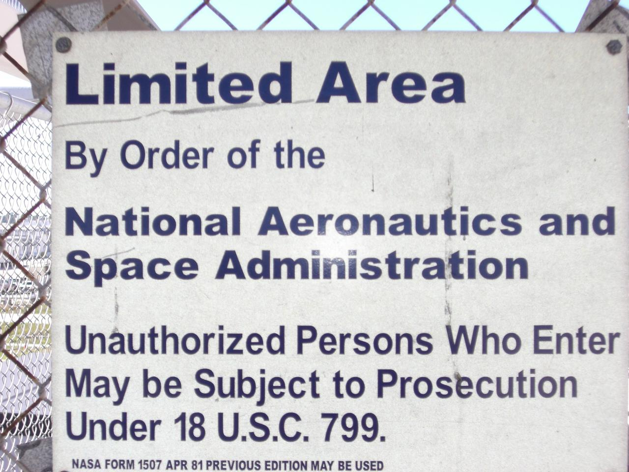 NASA Limited Area Warning Sign