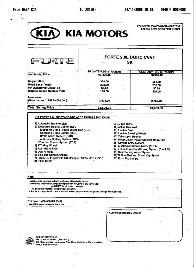 Naza Forte 2.0L DOHC CVVT SX Model is (RM93,800)