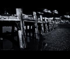 Another Trestle (Mr sAg) Tags: uk sea blackandwhite bw beach mono coast pier seaside sand nikon decay jetty monotone lancashire lytham coastal shore rotten sag stannes disrepair lancs staycation mrsag nikond60sag