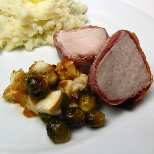 Prociutto Wrapped Pork with Apples & Brussel Sprouts