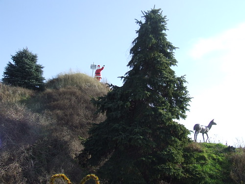 Santa on a hill
