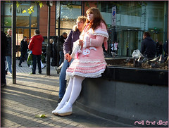 `203 (roll the dice) Tags: life street uk pink girls portrait people urban woman colour london art classic girl fashion socks lost pretty dress sheep natural candid strangers streetphotography stranger knightsbridge unknown brunette mad unaware sw1 londonist littlebopeep