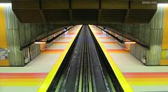 Metro After Midnight # 3 (dzpixel) Tags: voyage travel red orange colors night america train canon subway metro mtl perspective rail ixus midnight series late after vanishing undergound dz montrealmetro yeloww copact samlam dzpixel