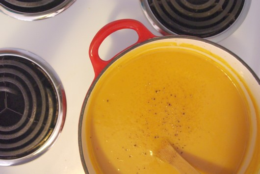 Stephanie Alexander's pumpkin, coconut and seafood soup