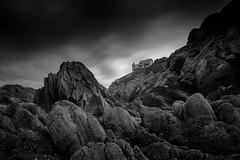 House on the hill (Scott Baldock) Tags: devon rocks cliff mono low key mood atmosphere canon 5diii black white long exposure 10 stop