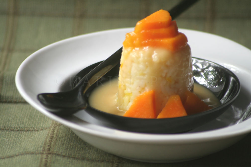 Thai mango sticky rice pudding