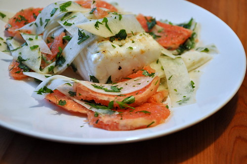 Halibut and Grapefruit-Jicama Salad