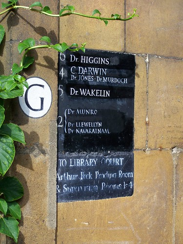 Sign for Darwins room, Christs College, University of Cambridge