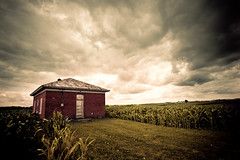 One Room (Loren Zemlicka) Tags: old summer sky brick field wisconsin clouds rural photography photo corn education midwest image decay farm country picture july explore land crops schoolhouse frontpage 2009 canonef1740mmf4lusm canoneos5d flickrexplore oneroom flickrfrontpage lorenzemlicka