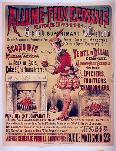 007- Affiche de propaganda del combustible para chimeneas fuego escoces-siglo XIX