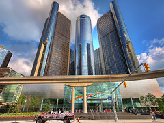 Renaissance Center (GM) (paul bica) Tags: usa building tourism beautiful spectacular outdoors moving amazing fantastic gm michigan detroit striking dex finest renaissancecenter generalmotors worldheadquarters platinumphoto dexxus 20090725odetroit0015hdr exploredaug1520094