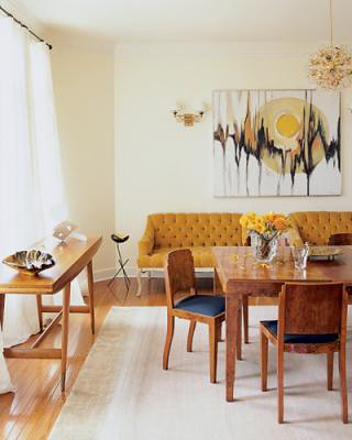 Vintage modern dining room: Art Deco burl wood table + Gio Ponti console, from Met Home