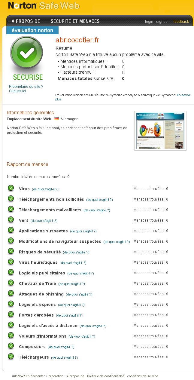 Norton Safe Web AbriCoCotier.Fr