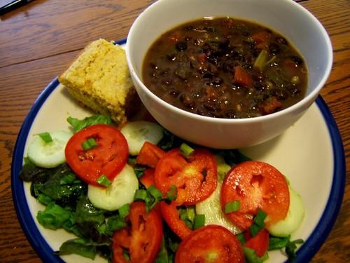 black bean soup + cornbread + salad