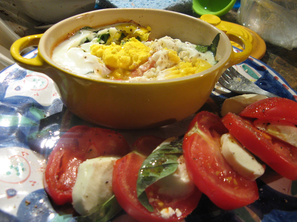 Baked eggs with spinach, tomato, feta, and basil | The ...