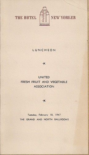 02/18/47 United Fresh Fruit & Vegetable Assn. Luncheon Brochure (Cover)