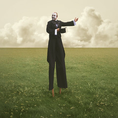 Welcome to the other place (Villi.Ingi) Tags: man art field square landscape weird arty surrealism clown dream surreal tuxedo fantasy montage photomontage dreamy unreal magical tux mime stilts mimeartist 500x500 pipc masterpiecesofphotography