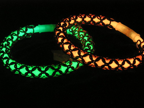 Glow-in-the-dark chain mail bracelets