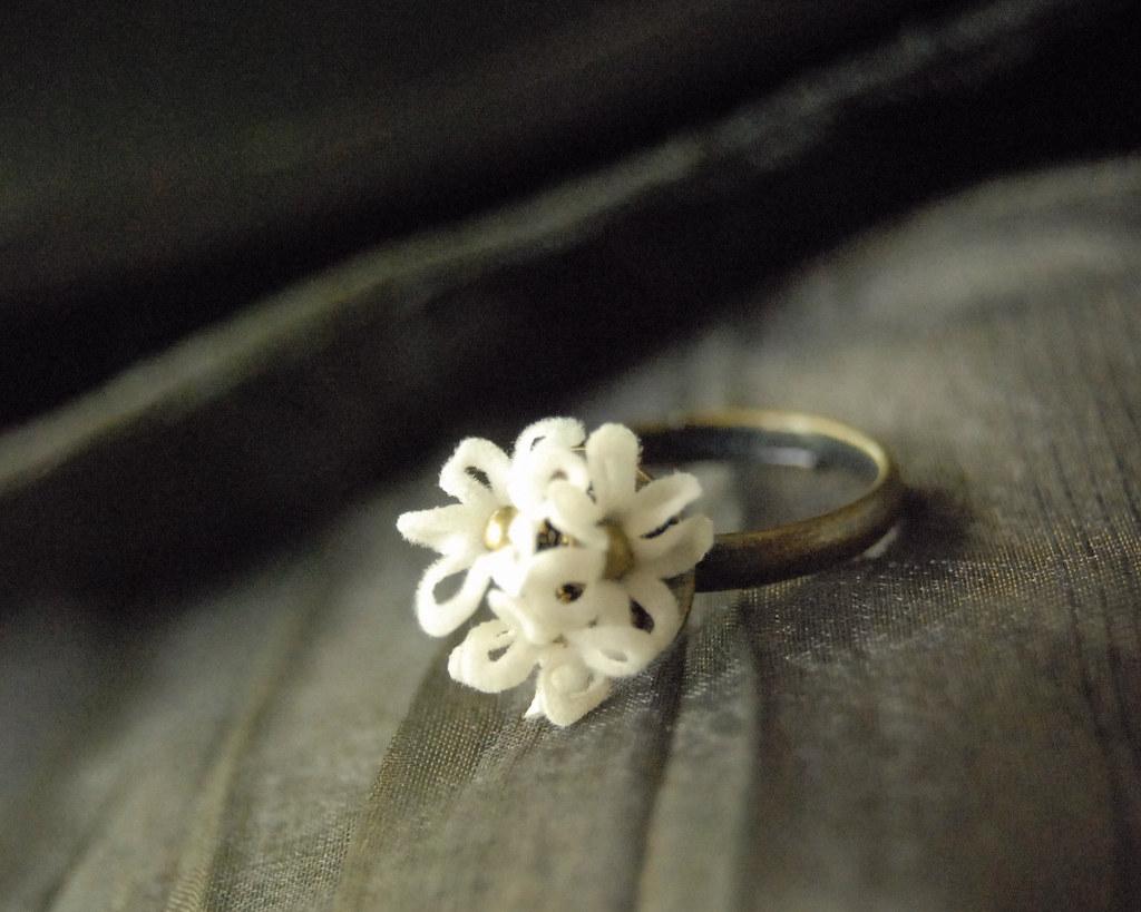 Flowerets. Pure - Ring. Fabric flowers. Delicately feminine.