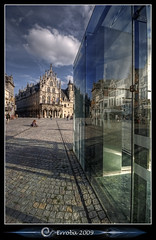 City Hall :: Mechelen :: Belgium (Erroba) Tags: blue sky green glass clouds photoshop canon reflections rebel belgium belgique cityhall tripod gothic belgi sigma cobblestones tips remote 1020mm erlend hdr mechelen stadhuis oldnew cs3 3xp photomatix tonemapped tonemapping xti 400d erroba robaye erlendrobaye