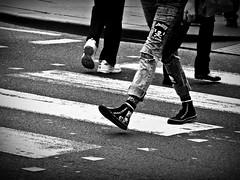 Crossing (C.W. Thomas) Tags: blackandwhite bw feet lumix crossing legs streetphotography