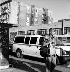 (andre dos santos) Tags: street nyc newyorkcity blackandwhite newyork 120 6x6 tlr film rollei rolleiflex mediumformat square lens reflex fuji harlem manhattan cigarette puff twin smoking 120film upper 400 squareformat medium format neopan smoker tobacco automat schneider twinlensreflex 125 kreuznach xenar f35 75mm uppermanhattan 125th mxevs relflex