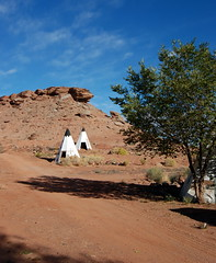 Teepees outside the World's Largest Petrified Tree Rest Stop, Holbrook, New Mexico