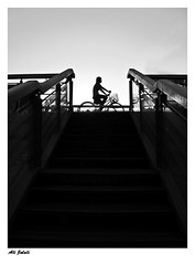 the last shot (A.Jalali) Tags: china street light sky people blackandwhite bw stairs canon blackwhite stair powershot  tianjin bycicle streetshot    alijalali  canong10