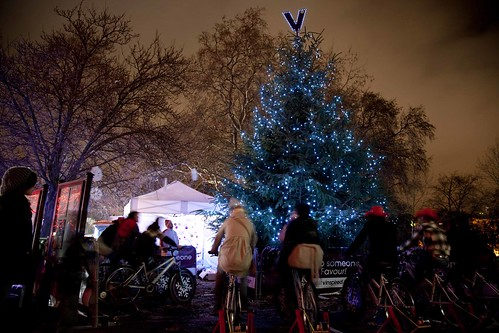 Pedal-powered Christmas tree in Hyde Park Winter Wonderland