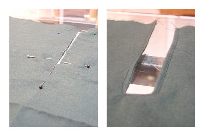 Placket facing: before and after