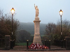 Llanbradach War Memorial November 2009 (Watt_Dabney) Tags: wales death memorial war glory religion great glamorgan second cenotaph remembrance wreaths armistice llanbradach 19391945 19141918 tothegloryofgod betterdeaththandishonour gwellancaunachywilydd