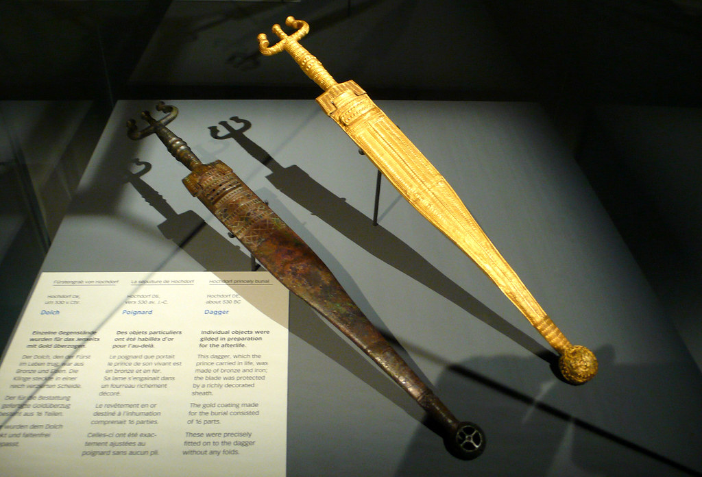 celts - hochdorf dagger with gold foil