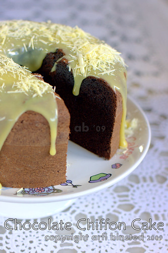 Chocolate Chiffon Cake iced with White Chocolate