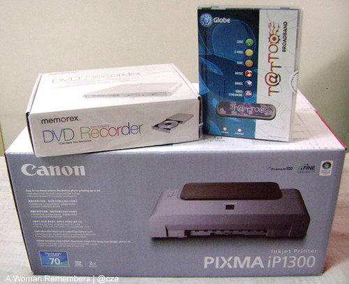 Free Globe Tattoo Broadband Kit, Canon iP1300 Printer, Portable External DVD-RW Drive