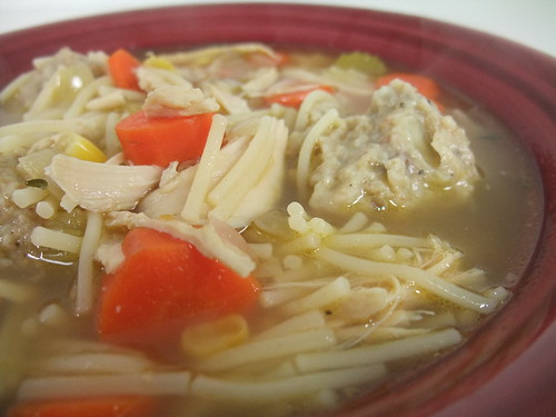Turkey Noodle Soup with Stuffing Dumplings