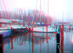 OPHM (Oak Pt Harbor Marina) (starg82343) Tags: mist reflection wet water misty fog sailboat marina boats outside outdoors harbor pier 3d dock cloudy brian foggy overcast anaglyph stereo rainy wallace piling drizzly drizzle oakpoint drizzling brianwallace oakpointharbor oakptharbor oakpt ophm