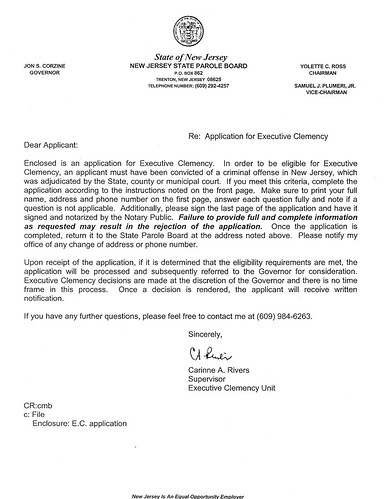 NJ Application for Executive Clemency Cover Letter