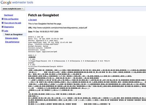 Fetch as Googlebot PDFs