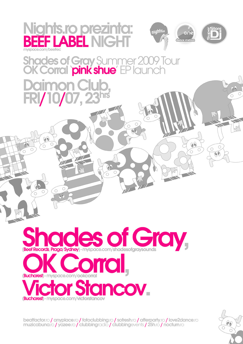 beef label night (nights.ro event) poster - shades of gray, ok corral, ...