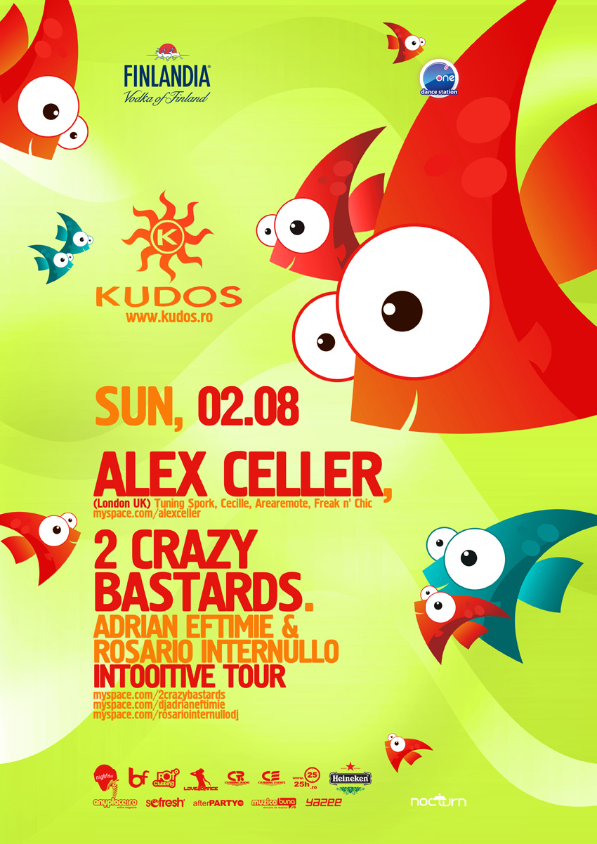 kudos beach poster - alex celler, 2 crazy bastards