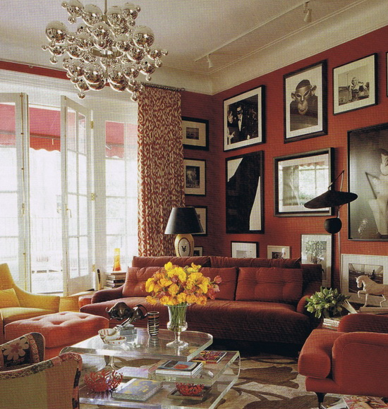 Red and White Living and Family Room Design Ideas