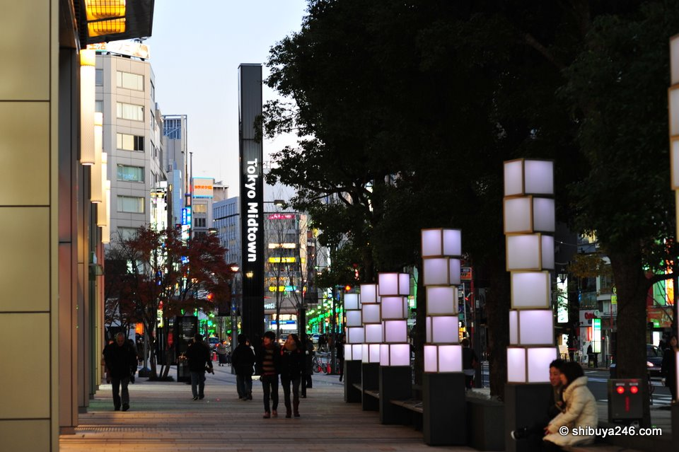 The main street in front of Tokyo Midtown prior to getting dark.