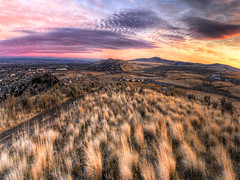 On Top of the World (Philerooski) Tags: road city blue trees sunset sky panorama orange sun mountain nature beautiful grass clouds canon landscape washington site amazing interesting colorful view purple desert notes path farm vibrant pano hill cities windmills lookout neighborhood fave trail stunning 100th vista fields wa roads incredible viewpoint 2009 brilliant hdr highdynamicrange sagebrush clearwater richland kennewick pasco civiltwilight farmfields tricities southridge 3xp photomatix canyonlakes thompsonhill jumpoffjoe philerooski panoramicheights
