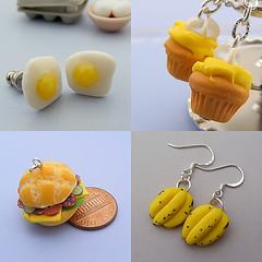 Breakfast Jewelry (Shay Aaron) Tags: food breakfast miniature necklace handmade aaron fake mini jewelry sandwich cupcake clay shay earrings pancake sunnysideup dollhouse petit polymer shayaaron