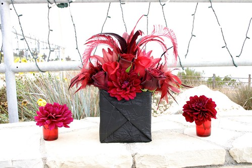 Larger black and red centerpieces